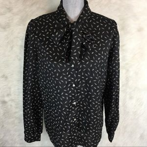 Vintage 70s 80s Contempo Pussy Bow Blouse Top